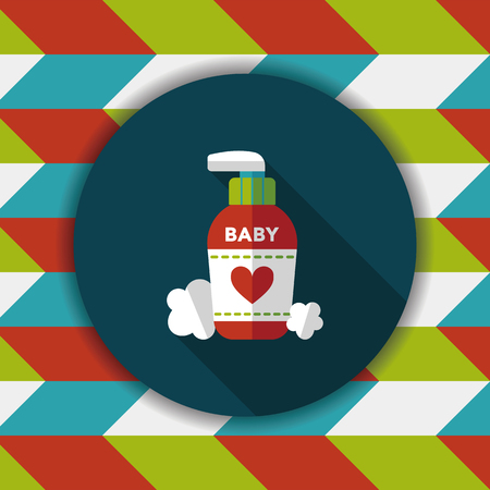 bodycare: baby cosmetics flat icon with long shadow,eps10