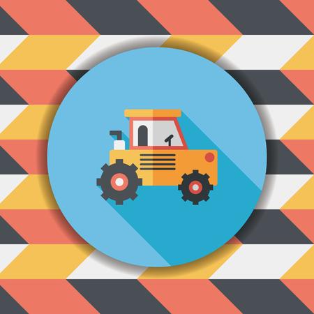 power shovel: Transportation excavator flat icon with long shadow,eps10