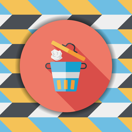 refuse: kitchenware garbage can flat icon with long shadow,eps10