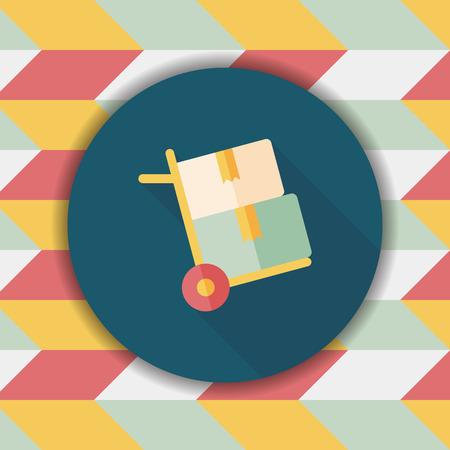 handling: shopping handling trolley flat icon with long shadow,eps10 Illustration