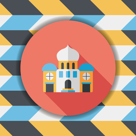 royal house: building palace flat icon with long shadow,eps10 Illustration