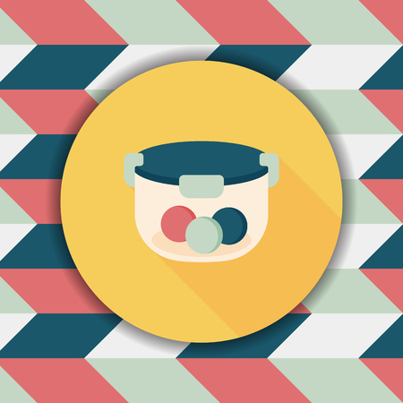 preserved: kitchenware preserving container flat icon with long shadow,eps10 Illustration