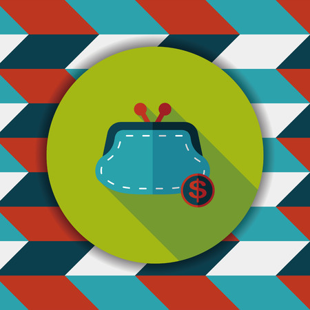 change purse: shopping change purse flat icon with long shadow,eps10