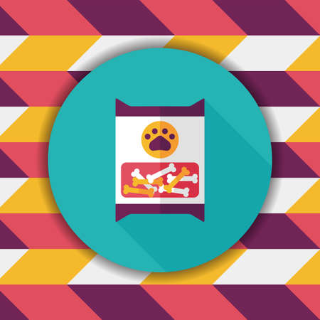 animal feed: Pet dog food package flat icon with long shadow,eps10 Illustration