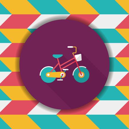El transporte en bicicleta icono plana con una larga sombra, eps10 Foto de archivo - 56247136