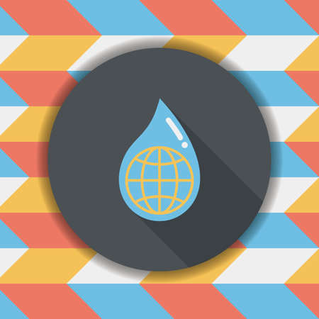 conserve: Environmental protection concept flat icon with long shadow,eps10; Conserve water, protect the environment.
