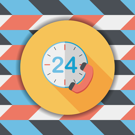 shop opening hours: 24 hours customer phone service flat icon with long shadow,eps10 Illustration