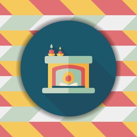cosy: Christmas fireplace flat icon with long shadow,eps10