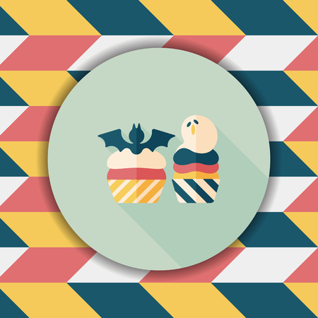 viewpoint: Halloween cupcakes with bat flat icon with long shadow,eps10