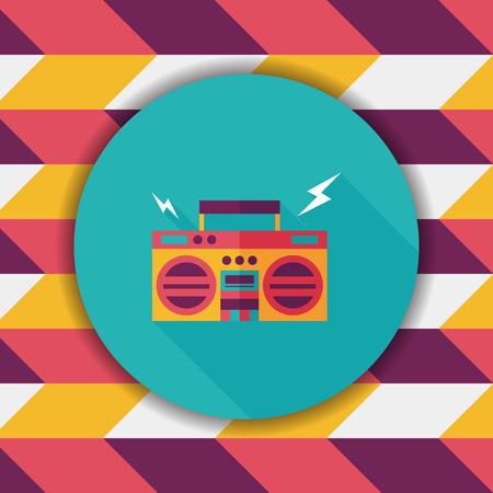 blaster: ghetto blaster audio flat icon with long shadow,eps10