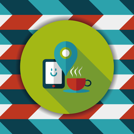 lliquid: coffee flat icon with long shadow, eps10, When you go to coffee shop, you can check into places and click the like button on social network. Illustration