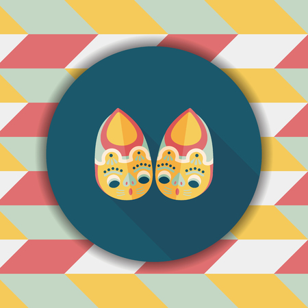 shoelaces: Embroidered shoes flat icon with long shadow,eps10 Illustration