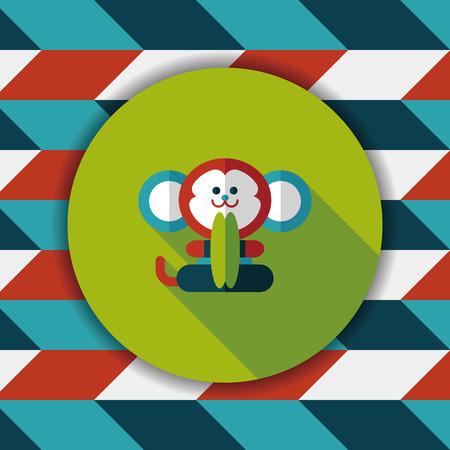 Cymbals: monkey toy flat icon with long shadow,eps10 Illustration