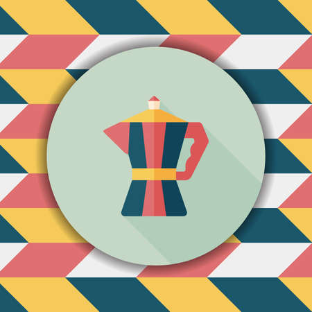 coffeepot: coffee kettle flat icon with long shadow,eps10 Illustration