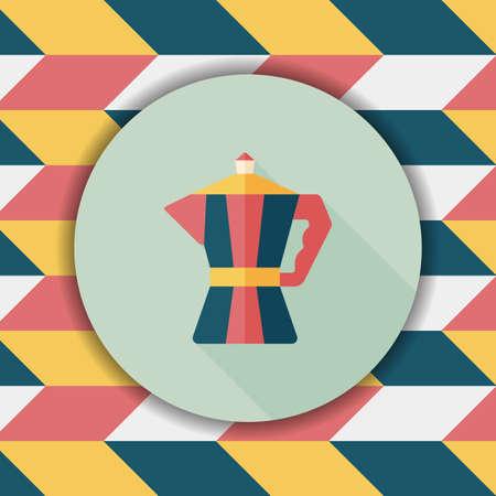 icona piatto bollitore caffè con una lunga ombra, eps10 Vettoriali