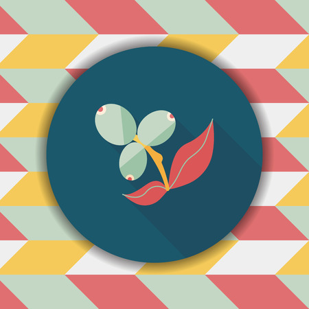 cultivating: coffee fruit flat icon with long shadow,eps10