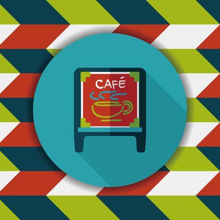 커피 숍 표지판 긴 그림자, eps10와 플랫 아이콘