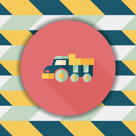 earthmoving: Dump truck flat icon with long shadow,eps10
