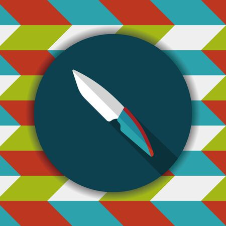 cutouts: kitchenware fruit knife flat icon with long shadow,eps10 Illustration