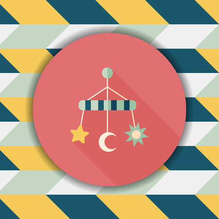 hanging toy: Baby crib hanging toy flat icon with long shadow,eps 10