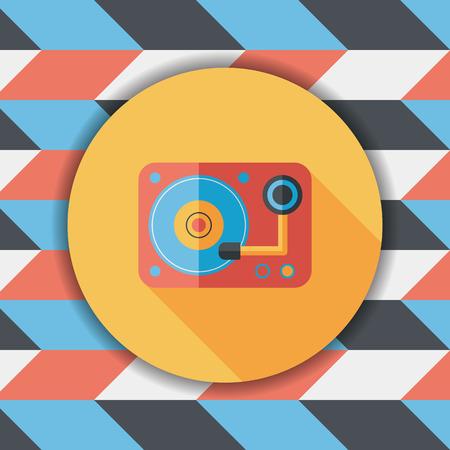 disk jockey: DJ music flat icon with long shadow,eps10 Illustration