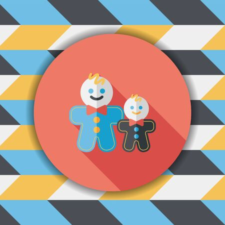 gingerbread cake: Gingerbread man flat icon with long shadow,eps10