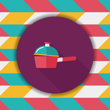 stew pot: kitchenware pot flat icon with long shadow,eps10