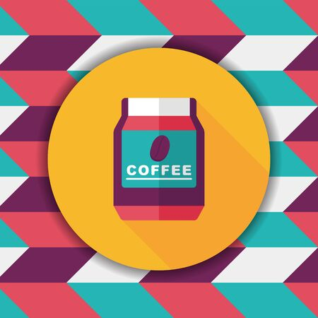 arabica: glass canned coffee flat icon with long shadow,eps10