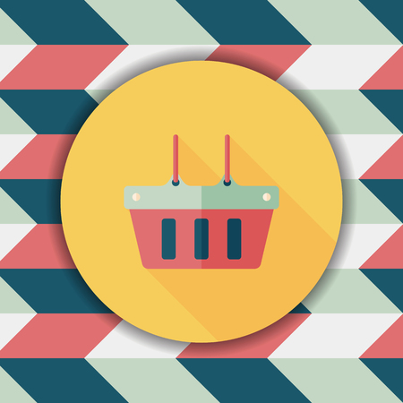 shopping basket: shopping basket flat icon with long shadow,eps10