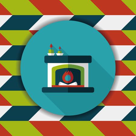 christmastime: Christmas fireplace flat icon with long shadow,eps10