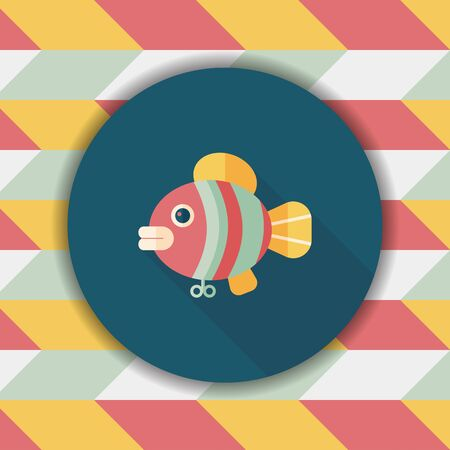 angling rod: fish toy flat icon with long shadow,eps 10 Illustration