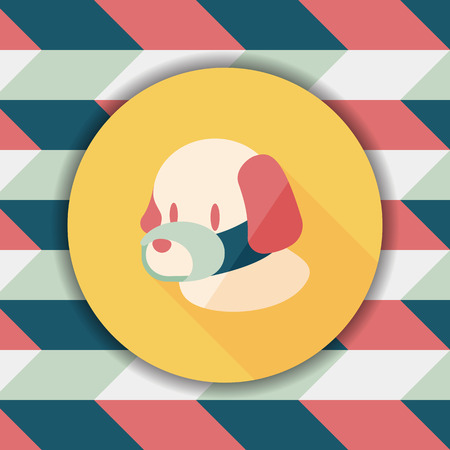 cover mouth: Pet dog mouth cover flat icon with long shadow,eps10
