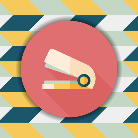 stapling: Stapler flat icon with long shadow,eps10