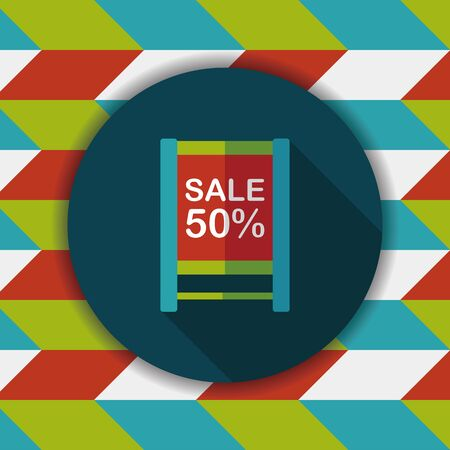 cheaper: shopping sale sign flag flat icon with long shadow,eps10