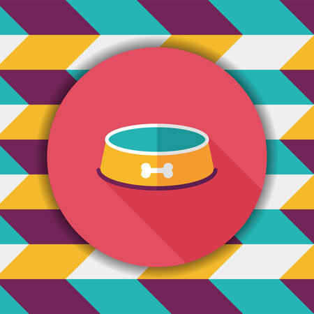 empty bowl: Pet dog bowl flat icon with long shadow,eps10 Illustration