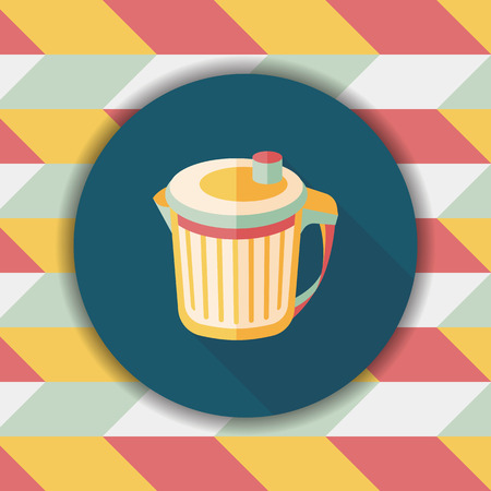 wastebasket: kitchenware garbage can flat icon with long shadow,eps10