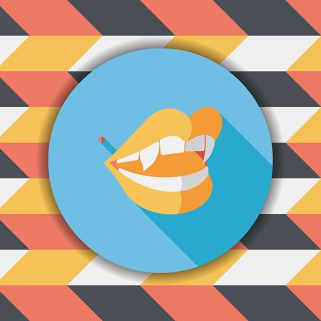 fangs: Halloween fangs flat icon with long shadow,eps10