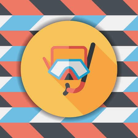 rubber tube: Mask and snorkel flat icon with long shadow