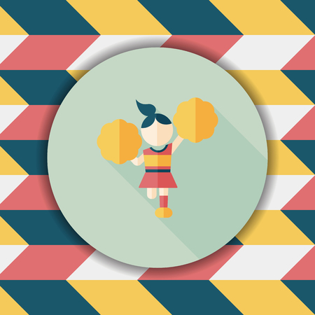 flexible woman: cheerleader flat icon with long shadow,eps10 Illustration