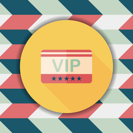 costumer: shopping vip card flat icon with long shadow,eps10 Illustration