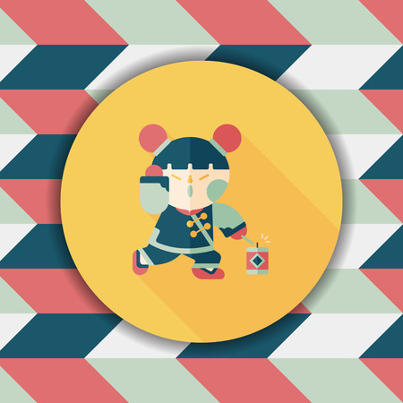 asian family fun: Chinese New Year girl flat icon with long shadow,eps10