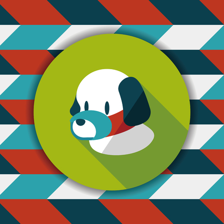 face covered: Pet dog mouth cover flat icon with long shadow,eps10