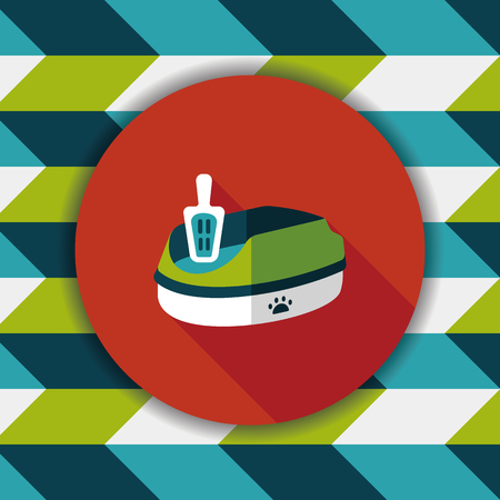 plastic scoop: Pet cat litter box flat icon with long shadow, eps10 Illustration