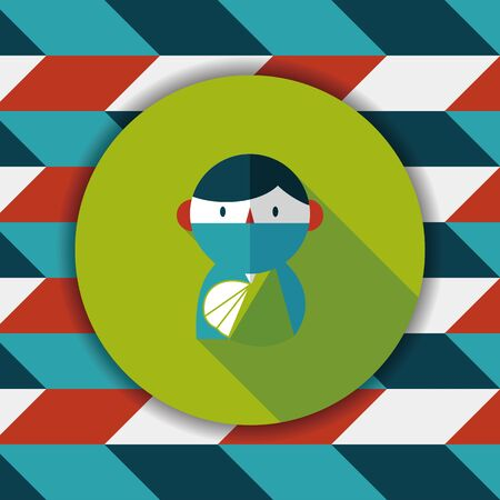 disappointed: Female patient flat icon with long shadow Illustration