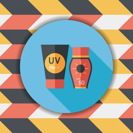 sunblock: Sunscreen flat icon with long shadow