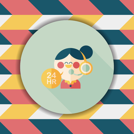 telephone operator: 24 hours customer phone service flat icon with long shadow,eps10 Illustration