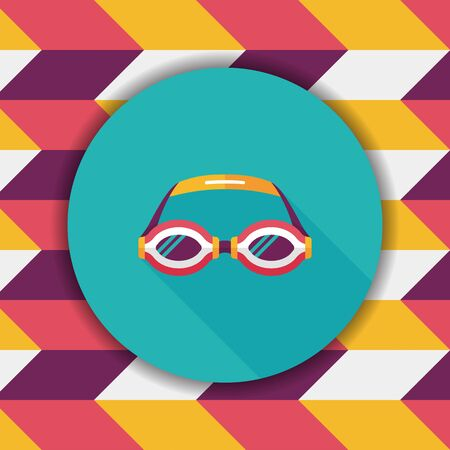 swimming goggles: swimming goggles flat icon with long shadow,eps10