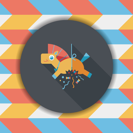 parade confetti: horse confetti flat icon with long shadow,eps10 Illustration