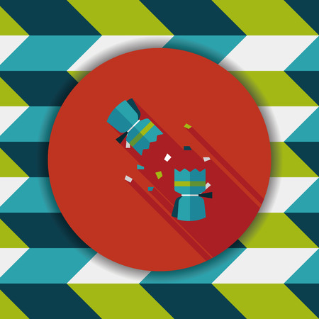 weihnachten: Christmas cracker flat icon with long shadow,eps10 Illustration