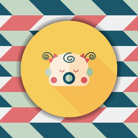hispanic boy: baby gril flat icon with long shadow,esp10 Illustration